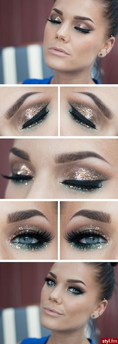 Image via Glitter Makeup Ideas Featuring Smokey Eyes Image via Blue Glitter Makeup pix Image via Glitter Makeup Ideas - Smoky eye make up with glitter Image via Best Glitt Pretty Makeup, Love Makeup, Makeup Looks, Daily Makeup, Everyday Makeup, Awesome Makeup, Gorgeous Makeup, Perfect Makeup, Makeup Trends