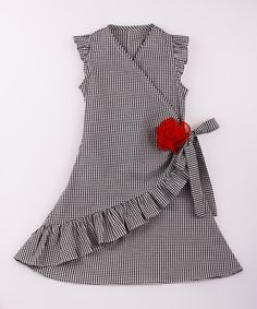 Look at this Mia Belle Baby Black & White Gingham Ruffle Wrap Dress - Toddler & Girls on #zulily today!
