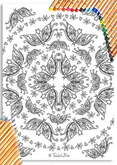 Butterfly Circle Colouring Page 'The Circus Girl Colouring