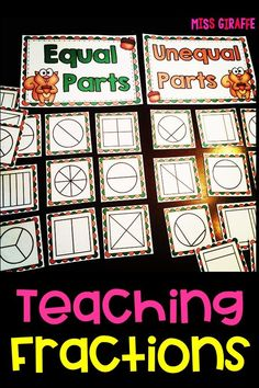 Teaching equal parts first grade First Grade Curriculum, Teaching First Grade, 1st Grade Math, Teaching Math, Grade 2, Learning Fractions, Math Fractions, 2nd Grade Centers, Math Centers
