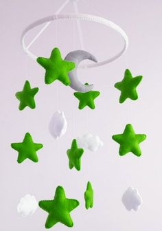 Baby crib mobile Star green gray moon Nursery cot decor Cloud Hanging mobile Nursery decoration