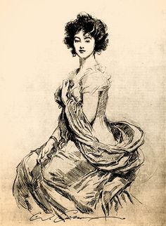 Charles Dana Gibson - *The Gibson Girl* - Pen and Ink works of his best