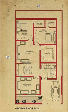 Home Design Drawing house floor marla house plan in bahria town lahore-architecture-design - 10 Marla House Plan, 2bhk House Plan, Simple House Plans, Model House Plan, Duplex House Plans, House Layout Plans, House Plans One Story, New House Plans, House Floor Plans