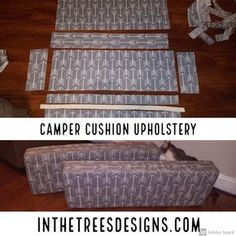 Details on how I upholstered our camper dinette back and seat with outdoor canva. - Details on how I upholstered our camper dinette back and seat with outdoor canvas and vinyl. Popup Camper Remodel, Travel Trailer Remodel, Camper Renovation, Travel Trailers, Camping Trailers, Rv Camping, Travel Trailer Decor, Glamping, How To Remodel A Camper