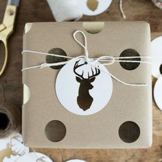"These stag gift tags will give your christmas gifts extra flare this year! - 10, 3.25"" circle tags with gold foil accents, each pre-strung"