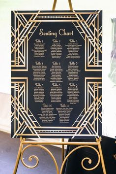 Beautiful black and gold geometric seating chart - perfect for an art deco or great gatsby themed weddng Great Gatsby Party, Great Gatsby Motto, Great Gatsby Invitation, Art Deco Wedding Invitations, Seating Chart Wedding, Wedding Table, Seating Charts, Wedding Reception, Wedding Themes