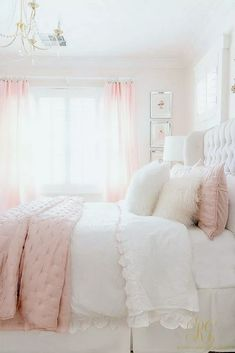 3 Simple Ways to Add Pink to your Home - Randi Garrett Design pink white girl's bedroom - satin pink quilt Pink Bedrooms, Pink Bedroom Design, Bedroom Makeover, Bedroom Interior, Home Decor, Room Inspiration, Bedroom Inspirations, Cute Bedroom Ideas, White Girls Bedroom
