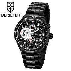 2018 New Men Stainless Steel Sports Watch Chronograph Wristwatch Waterproof Japan Movement Wrist Watch