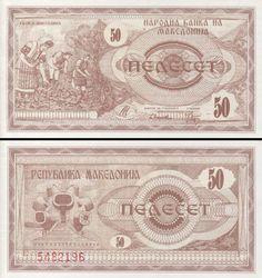 P-2 UNC World Currency 1992 MACEDONIA 25 Dinara Paper Money