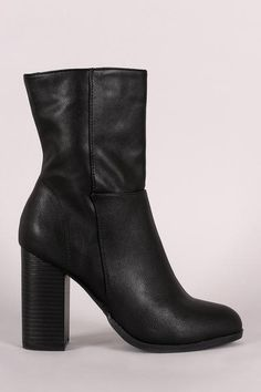 Bamboo Vegan Leather Chunky Heel Boots