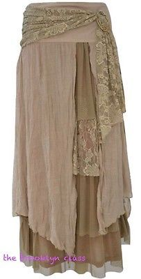 Pretty Angel Earthy Brown Vintage Boho Peasant Gypsy skirt--layered & flowing!   Clothing, Shoes & Accessories, Women's Clothing, Skirts   eBay!