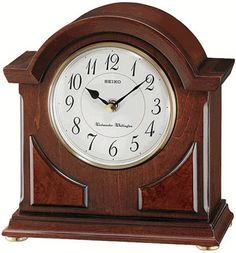 * Brown wooden case * Glass crystal * Westminster/ Whittington quarter-hour chime, hourly strikes * Volume control * Nighttime chime silencer * One AA battery included * 8 x x 3 * Seiko Chiming Mantel Clock