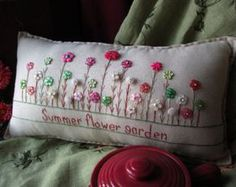 Sewing Pillows Summer Flower Garden Pillow (Cottage Style) - This winter-themed hand-made muslin needlework pillow is perfect for winter decor and fans of snow and the cold! Easter Garden, Summer Garden, Sewing Pillows, Button Crafts, Couch Pillows, Ribbon Embroidery, Summer Flowers, Flowers Garden, Pin Cushions
