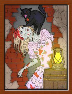 Jade Summer - Edgar Allan Poe, The Black Cat  Digital Colouring