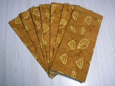 Cloth Luncheon Napkins - Sea Shells on Caramel Batik - Great Gift for Mother's Day!