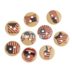 100 Pcs Mixed USA Flag Pattern 2 Holes Wood Sewing Buttons Scrapbooking 15mm #Unbranded