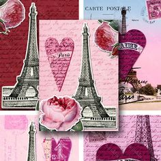 A French-themed valentine's day collage sheet I made with dozens of layers and scans including love letters from the 1700s, hand colored rose engravings, and several scans of the Eiffel Tower from the late 1800s and early 1900s.