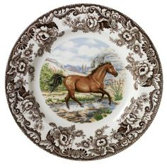 Spode Woodland American Quarter Horse Dinner Plate by Spode. $58.99. Made of high quality Earthenware. Dishwasher and Microwave safe. Each center depicts an American horse breed in its working habitat or natural environment.. Makes a great gift for family and friends. 10- 1/2 inch. Spode Woodland Horses is a new series of popular American horse breeds. The Dinner Plate measures 10- 1/2 inches - American Quarter.