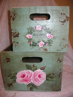 Shabby Storage Box Duo Set with Hand Painted Roses - Shabby Chic