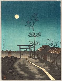 Kobayashi Kiyochika - Torii and Full Moon  Ca. 1930's.