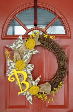 Twig & Burlap Spring Wreath -  - custom made wreaths can be purchased on Wreath Addiction's Facebook page