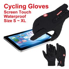 Bicycle Motorcycle Gloves Outdoor Sport Warm Windproof Thermal Touch Gloves Riding Running Bike Cycling Gloves Hot Hands Warmer * Prover'te etot zamechatel'nyy produkt.