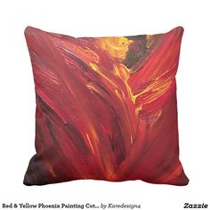 Red & Yellow Phoenix Painting Cotton Throw Pillow