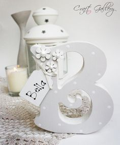 Made by CraftGallery... https://www.facebook.com/CraftGalleryPersonalisedGifts Handmade Personalised Freestanding letter in ivory, Handmade letter, keepsake, personalise gift, personalised decorations, home decor