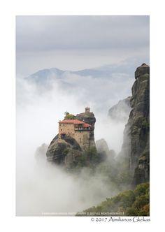 Meteora monastery with fog - null