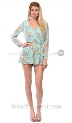 $57.00 | Mint Floral Print Chiffon Romper | BE Boutique