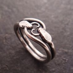 Down To The Wire Designs Double Ouroboros Snake Ring in Sterling Silver
