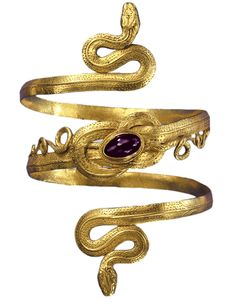 Gold snake bracelet with garnet, from the Greek-Hellenistic period, 3rd-to-2nd century BC.