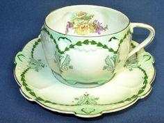 Vintage MZ AUSTRIA Tea Cup and Saucer Art by PorcelainPalace, $34.00