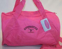 Gymnastics Duffel Gym Bag Gymnast on Balance Beam Custom Embroidered Barrel