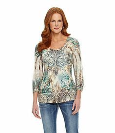 Reba Wonderland Sublimation LaceFront Top #Dillards