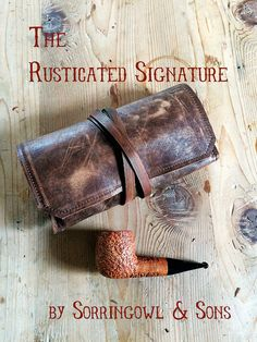 Signature Pipe & Tobacco Pouch - 1-2 pipes, Rusticated Brown leather, Red lining, Antique Brass rivets