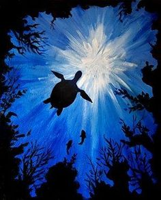 "Paint Nite | Drink Creatively ""Sea Turtle"" by Paint Nite Artist Kristina Elizabeth. Want to learn how to paint this?? Check out our website for an event near you! by julie"