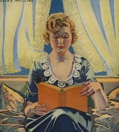 Coles Phillips Woman Reading Book, 1910-19