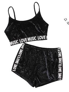 Cheap pajamas for women, Buy Quality shorts pajamas directly from China pajamas for women shorts Suppliers: SHEIN Printed Tape Detail Crushed Velvet Lingerie Sets Black Letter Printed Crop Top and Shorts Pajamas for Women Womens Fashion Online, Latest Fashion For Women, Teen Fashion, Fashion Outfits, Moda Fashion, Fashion Black, Fashion Clothes, Fashion Ideas, Jolie Lingerie