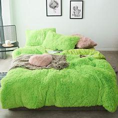 Fluffy Velvet Fleece Quilt Cover Bed Set (4/6/7 pcs) - Lime Green