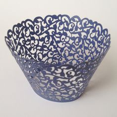 Beautiful Navy Blue Lace Wedding Filigree Cupcake Liners Liner Baking Cup Cupcake Wrapper Wrappers