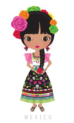 Hand-painted mexican girl PNG and Clipart Kawaii, Arno Stern, Illustrations, Illustration Art, Mexican American, Mexican Party, Mexican Costume, Thinking Day, Arte Popular