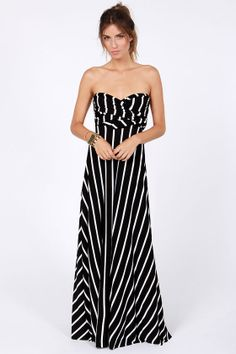"""Tricks of the Trade Black Striped Maxi Dress"" at LuLus.com!  Love how it can be worn in several different ways!"