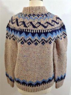 Vtg Genuine Hand Knitted 100% Wool ICELANDIC Sweater Jumper Fair Isle GEO Size M