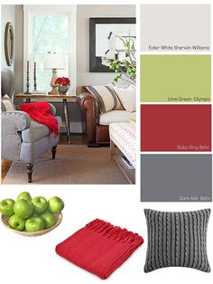 Stay warm this winter with cozy color schemes shared by @theexchange! & brown and gray color scheme - small amounts of red couch brown walls ...
