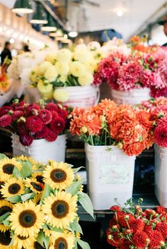 Fresh flowers at Pike's Place Markets, Seattle, WA
