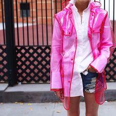 Atlantic-Pacific in the Summer Sky Cutoff Shorts Pink Raincoat, Clear Raincoat, Plastic Raincoat, Atlantic Pacific, Thing 1, Fashion Sites, Raincoats For Women, Rain Wear, Dress To Impress