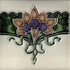 art nouveau tile designs | Art Tile, Art Nouveau Design, Blue and Brown Flowers with Green Ribbon ...