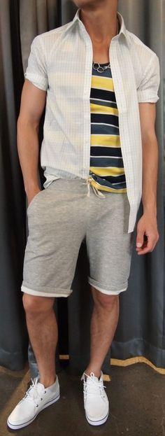 Eterna short sleeve shirt $165, Farah tank top $45, Benson shorts $85 from Gotstyle Menswear.