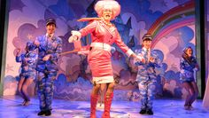 Andrew Pollard and members of the company in Jack & the Beanstalk at Greenwich Theatre (© Robert Day)